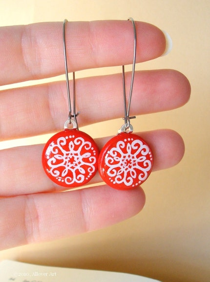 Lace On Red.  Handpainted Art Earrings.