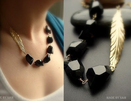 NOIR -BLACK ONYX 14k gold filled romantic necklace