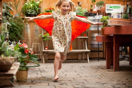 Butterfly dress with detachable butterfly wings, cream with orange and pink cape