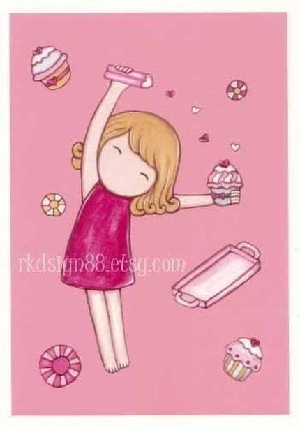 Making cupcakes - blonde hair - Cute Nursery Art Print