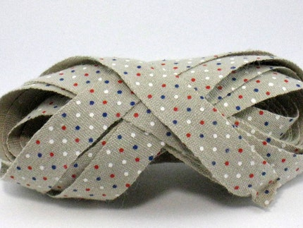 Red, White and Blue Dots - Japanese Trim - One Yard