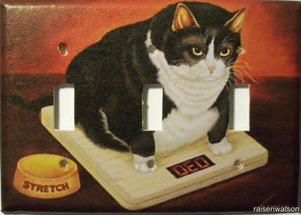 Fat Cat on Scales Triple Lightswitch Cover