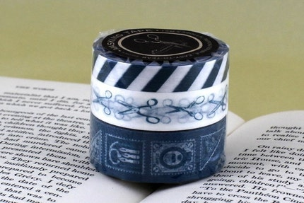 Airmail Tape, Scissors, Postage Stamps - BLUE Japanese Masking Tape set of 3