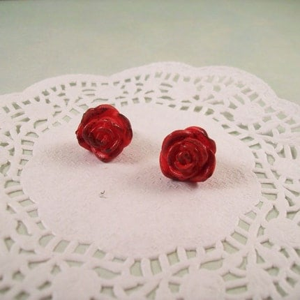 Rose Earrings by thelovelyteaspoon on Etsy