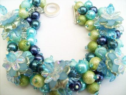 Beaded Charm Bracelet by Kim Smith SRAJD - Sea Flowers
