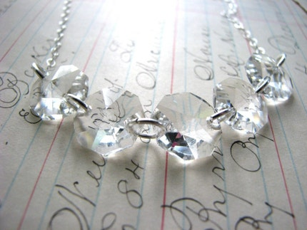 Old Fashioned LoVe Necklace...Vintage Crystal Glass Chandelier Pieces, Swarovski Crystals on Sterling Silver Necklace