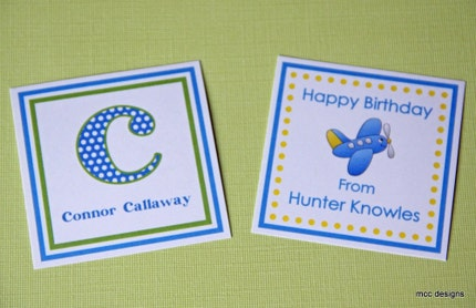 Personalized Square Gift Tags/Calling Cards - Set of 12