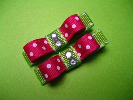 SHOCKING PINK POLKA DOTS - Set of 2 Holiday Hair Bow Clips - Baby / Toddler / Girl