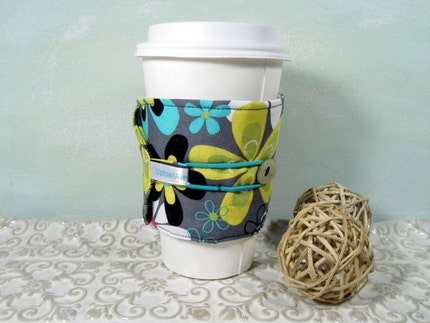 Mod Flower  Power Reversible Cup Cozy