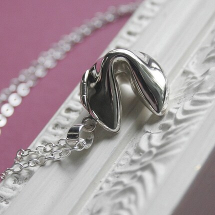 Sterling Silver Fortune Cookie Necklace Locket Style by englady