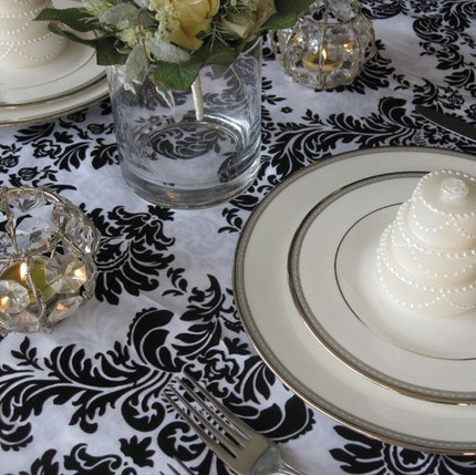 Black and White Flocked Damask Taffeta Table Overlay