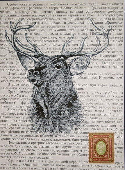 Stag Head on Russian Text with Vintage Russian Postage Stamp - 5 x 7