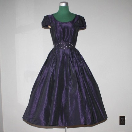 1950's Plum Taffeta Rhinestone Party Dress NWT