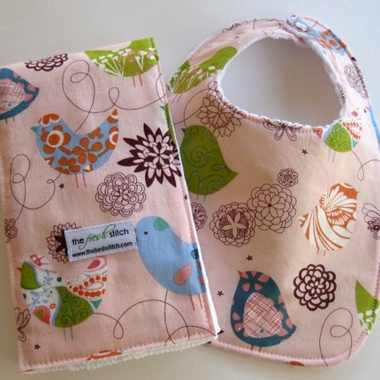Bib and Burp Baby Bundle Gift Set in Starling Pink