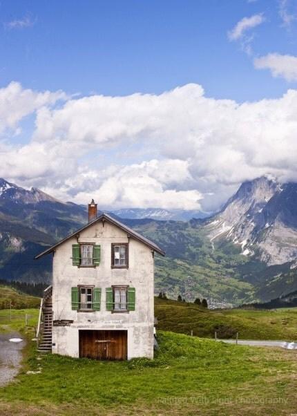 Green  Shutters in Switzerland -- 5x7 Fine Art Photograph