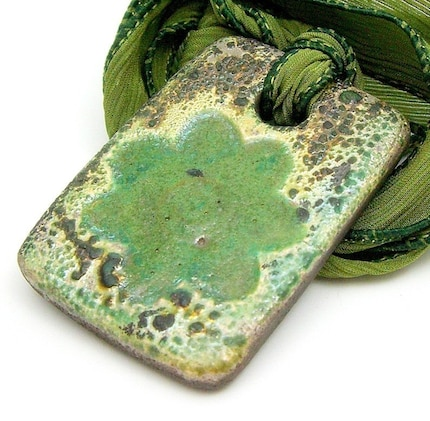 Green Flower Raku Pendant or Focal Bead Raku Ceramic Jewelry by MAKUstudio