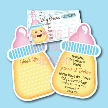 Printable Baby Shower Invite Thank You Card and Save the date by HoneyBops from etsy.com