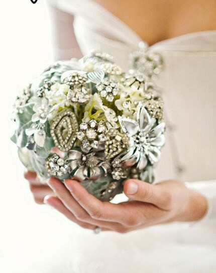 Custom information for heirloom jeweled bouquet