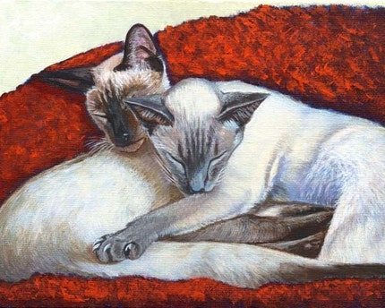 Akiko Open Edition Print of Sleeping Siamese Cat Painting (8x10)