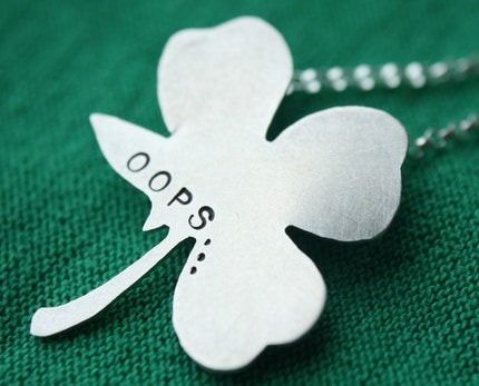 Sterling Silver Almost Four Leaf Clover Necklace - Just My Luck