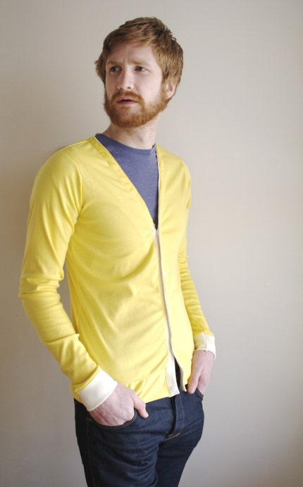 LEMON SQUEEZYmens cardigan by HackwithDesign on Etsy