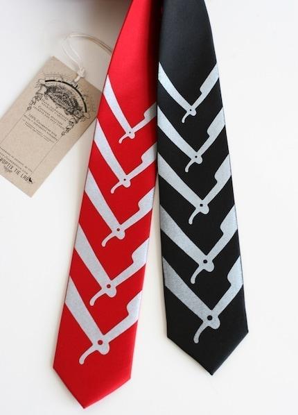Cut Throat, skinny microfiber necktie, black or red