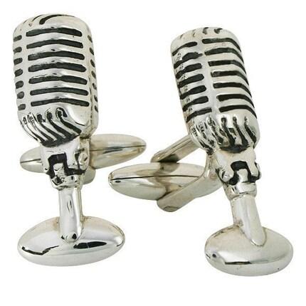 Retro 50s Radio Microphone Cufflinks, Sterling Silver, Handmade