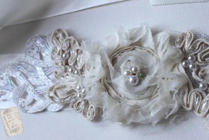 Nichola Vintage looking off white beading,ivory flower with beading on satin grossgrain ribbon, wedding belt sash