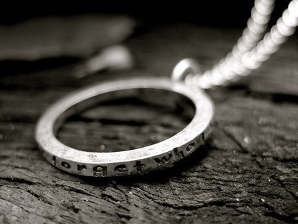 Customized Hammered Circle Secret Poetry Necklace in Sterling