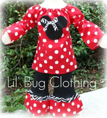 White Peasant Dress on Red Minnie Mouse Polka Dot Peasant Top   Ruffle Pants Set Red  Dot