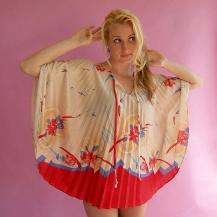 Vintage 70s Pleated Mini Dress Cape Poncho Top S M by empressjade from etsy.com