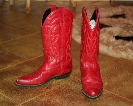 red, cowboy, vintage, boot, colour, color