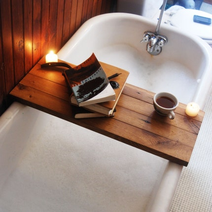 Tub Caddy made of Reclaimed Oak from a Broken Down Hardware Store