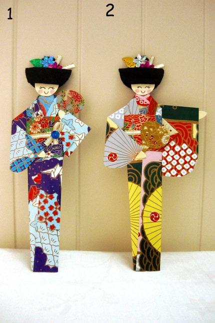 Origami Japanese Girl Geisha Bookmarks (Set of 2) - FREE SHIPPING
