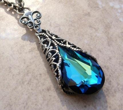 Victorian Bermuda Blue Crystal Teardrop Necklace