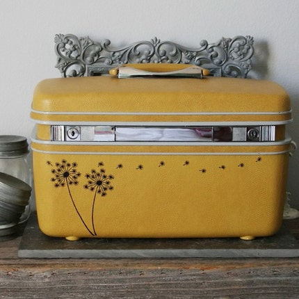 UPCYCLED Mustard Yellow VINTAGE Train Case with Dandelions and Seedlings blowing in Black ink