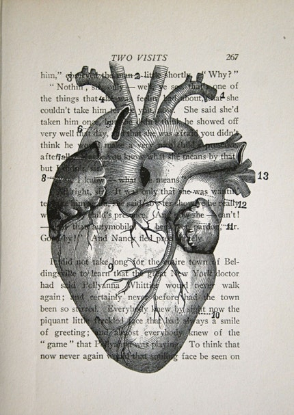 Anatomical Heart on Vintage Text - 5 x 7