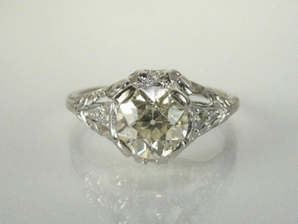 1.29 Carat Antique Platinum Old European Cut Diamond Engagement Ring