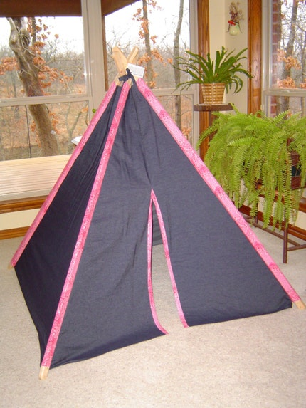Child's Play Teepee - Wooden poles - Pink Bandana and Denim (Free Shipping)
