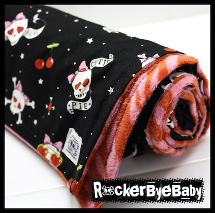 Girls Skull and Crossbones baby or toddler blanket black skull and crossbones skulls tattoo cherries with pink and red ZEBRA MINKY