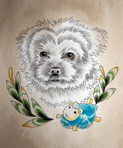 custom pet portrait 8x10 inches