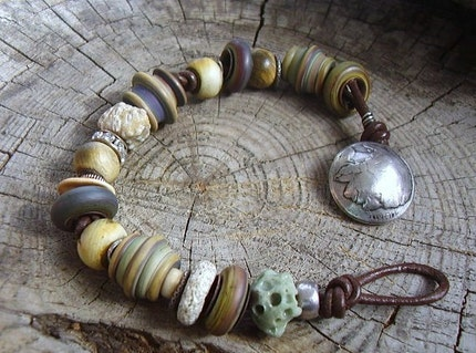 Indian Head Nickle and Old World Glass Bracelet