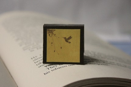 Magnetic Bookmark - Hummingbird and Butterfly