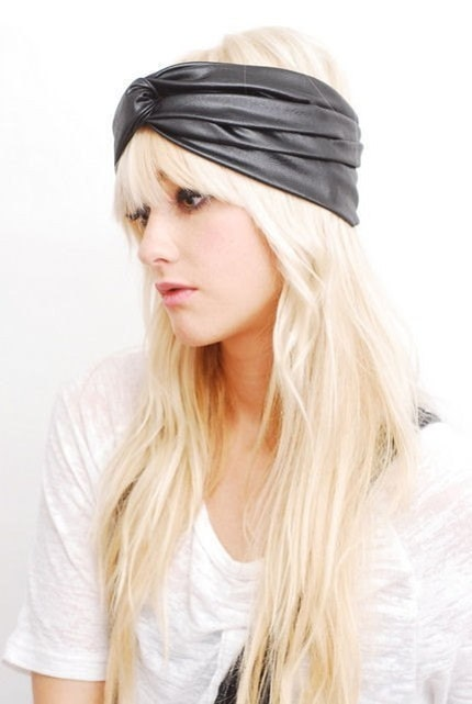 BABOOSHKA Black Faux Leather Turban Headband Head Wrap