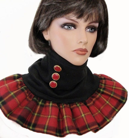 Red Tartan Plaid and Black Flared Fleece Neck by anickascottage from etsy.com
