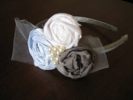 RIA Headband - Silk Dupioni Rosette Headband with Tulle