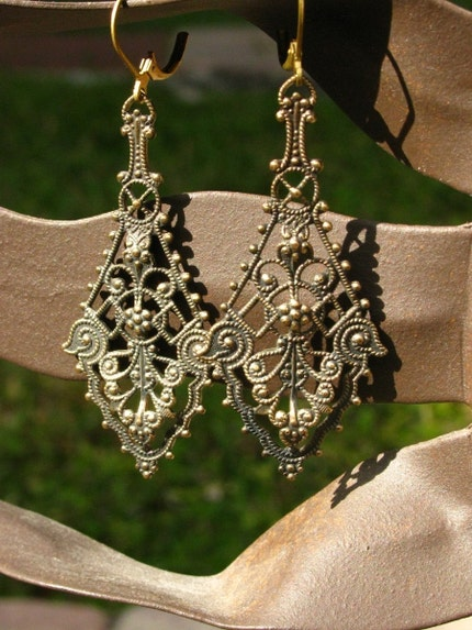 Victorian Paisley Filigree Earrings with Vintage by bajunajewelry from etsy.com