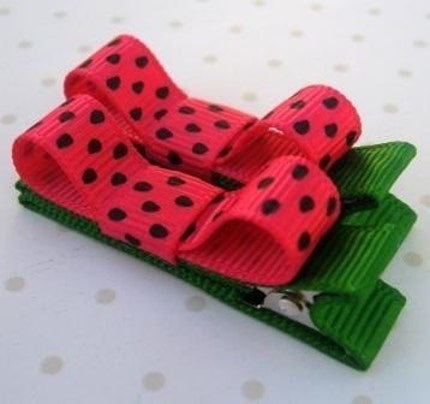 Pink and Green 'Watermelon Seeds' Ribbon Bow Non Slip Hair Clips