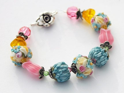 BOGO - SPRING SONNET,  Sweet Floral Lampwork Bracelet