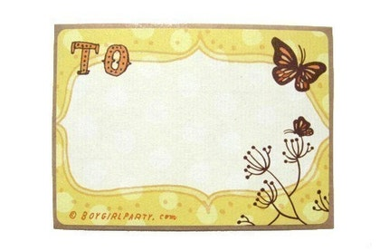 BUTTERFLY STICKER SET, set of 6 yellow labels for gifts and addresses